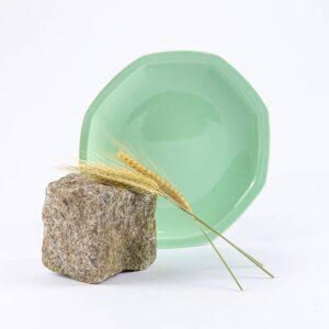 assiette octogonales en porcelaine verte française. 24.5 cm