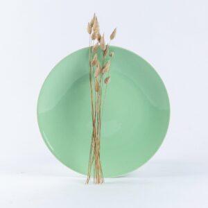 Assiette ronde en porcelaine verte française. 25cm