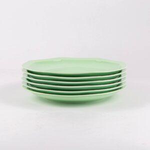 Pack de 6 assiettes octogonales en porcelaine verte française. 24.5cm