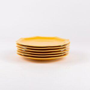 Pack de 6 assiettes octogonales en porcelaine jaune française.