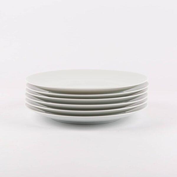 Pack de 6 assiettes ronde en porcelaine de Limoges française.
