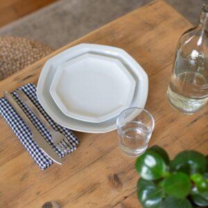 duo de deux assiettes en porcelaine blanches de limoges octogonales