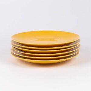 Pack de 6 assiettes rondes en porcelaine jaunes française. 25cm