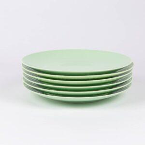 Pack de 6 assiettes rondes en porcelaine verte française. 25cm