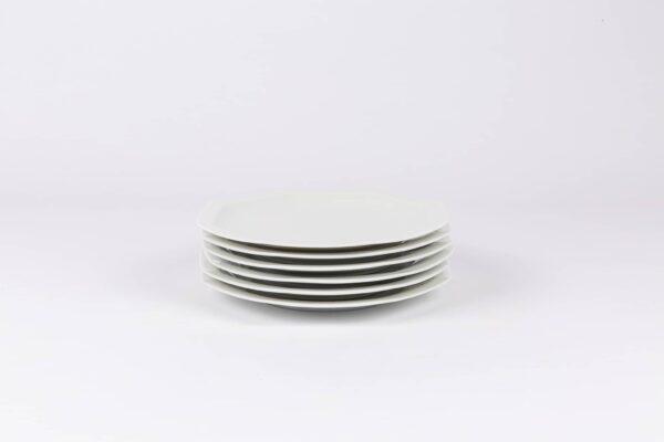 Pack de 6 assiettes octogonales en porcelaine blanches française. 19cm