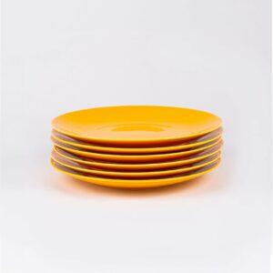 Pack de 6 assiettes en porcelaine jaune française. 19cm