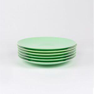 Pack de 6 assiettes en porcelaine verte française.